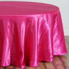 "108"" Fushia Satin Round Tablecloth"