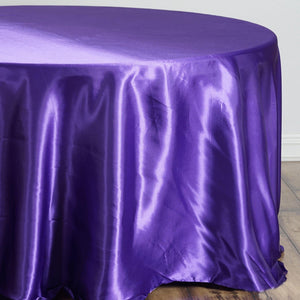 "108"" Purple Satin Round Tablecloth"
