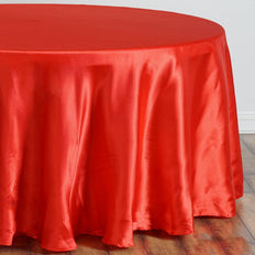 "108"" Red Satin Round Tablecloth"