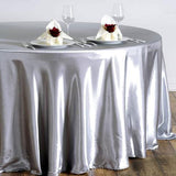 "108"" Silver Satin Round Tablecloth"