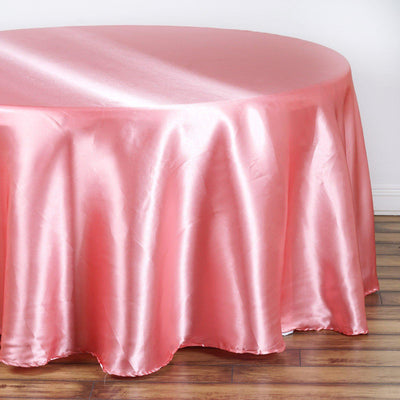 "120"" ROSE QUARTZ Wholesale SATIN Round Tablecloth For Wedding Banquet Restaurant"
