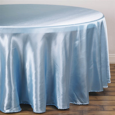 "120"" SERENITY BLUE Wholesale SATIN Round Tablecloth For Wedding Banquet Restaurant"