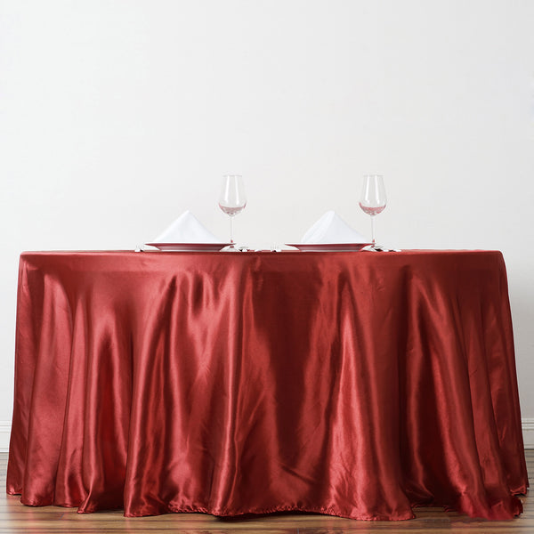 "120"" Wine Satin Round Tablecloth - Clearance SALE"