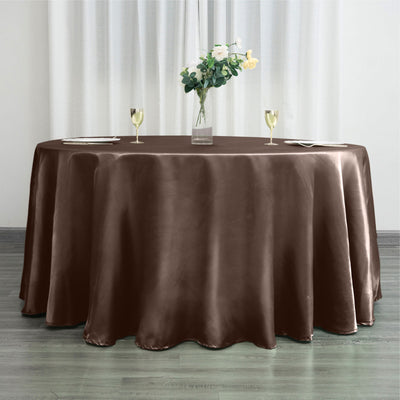 "120"" Chocolate Satin Round Tablecloth"