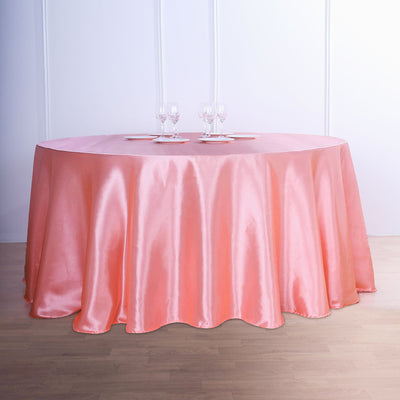 120 Coral Satin Round Tablecloth
