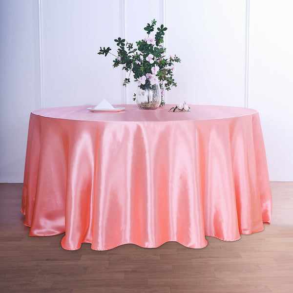 "120"" Coral Satin Round Tablecloth"