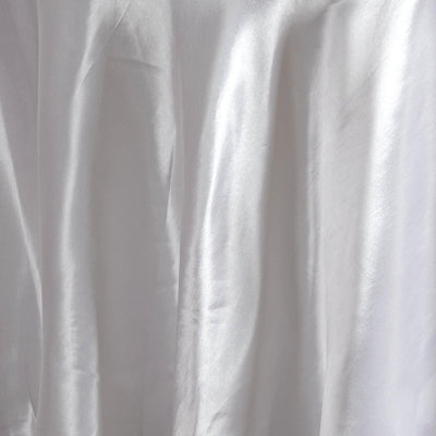 "120"" WHITE Wholesale SATIN Round Tablecloth For Wedding Banquet Restaurant"