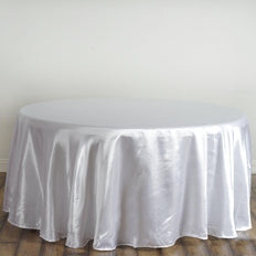 "120"" White Satin Round Tablecloth"