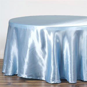 "90"" SERENITY BLUE Wholesale SATIN Round Tablecloth For Wedding Banquet Restaurant"
