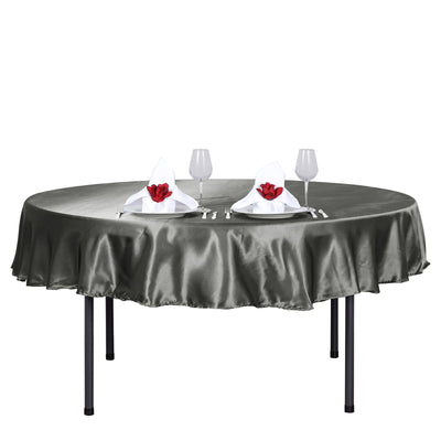 90 inch Charcoal Gray Satin Round Tablecloth