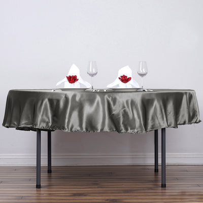 "90"" Midnight Green Satin Round Tablecloth - Clearance SALE"