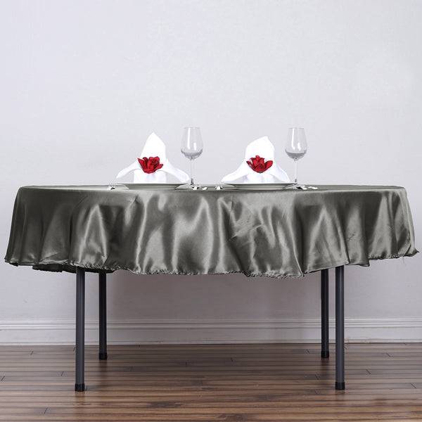 "90"" Charcoal Gray Satin Round Tablecloth - Clearance SALE"