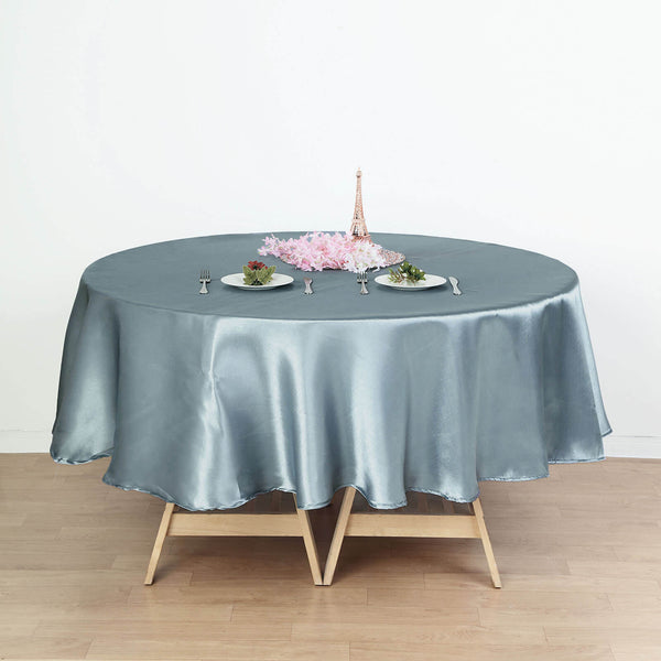 "90"" Dusty Blue Satin Round Tablecloth"