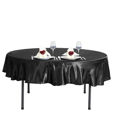 "90"" Black Satin Round Tablecloth"