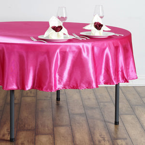 "90"" FUSHIA Wholesale SATIN Round Tablecloth For Wedding Banquet Restaurant"