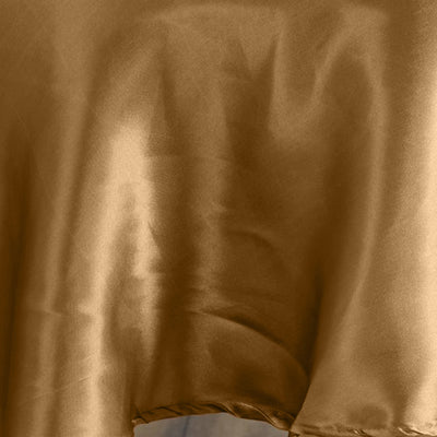 90 inch Gold Satin Round Tablecloth