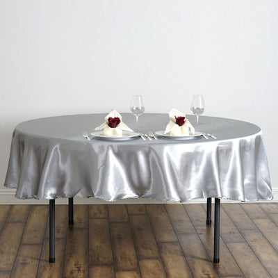 90 inch Silver Satin Round Tablecloth