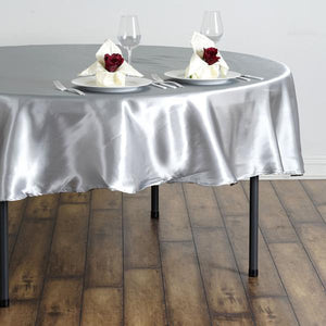 "90"" SILVER Wholesale SATIN Round Tablecloth For Wedding Banquet Restaurant"