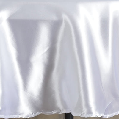 "90"" WHITE Wholesale SATIN Round Tablecloth For Wedding Banquet Restaurant"
