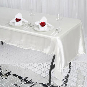 "50x120"" Ivory Satin Tablecloth"