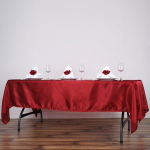 "60x102"" Wine Satin Rectangular Tablecloth"