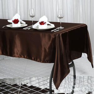 "60x102"" Chocolate Satin Rectangular Tablecloth"