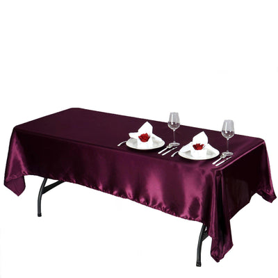 "60x102"" EGGPLANT Wholesale SATIN Banquet Linen Wedding Party Restaurant Tablecloth"