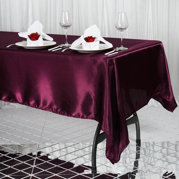 "60""x102"" Eggplant Satin Rectangular Tablecloth"