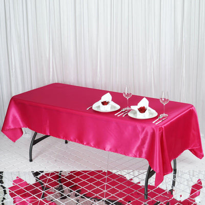 "60x102"" Fushia Satin Rectangular Tablecloth"