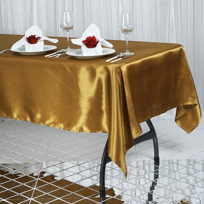 "60x102"" GOLD Wholesale SATIN Banquet Linen Wedding Party Restaurant Tablecloth"
