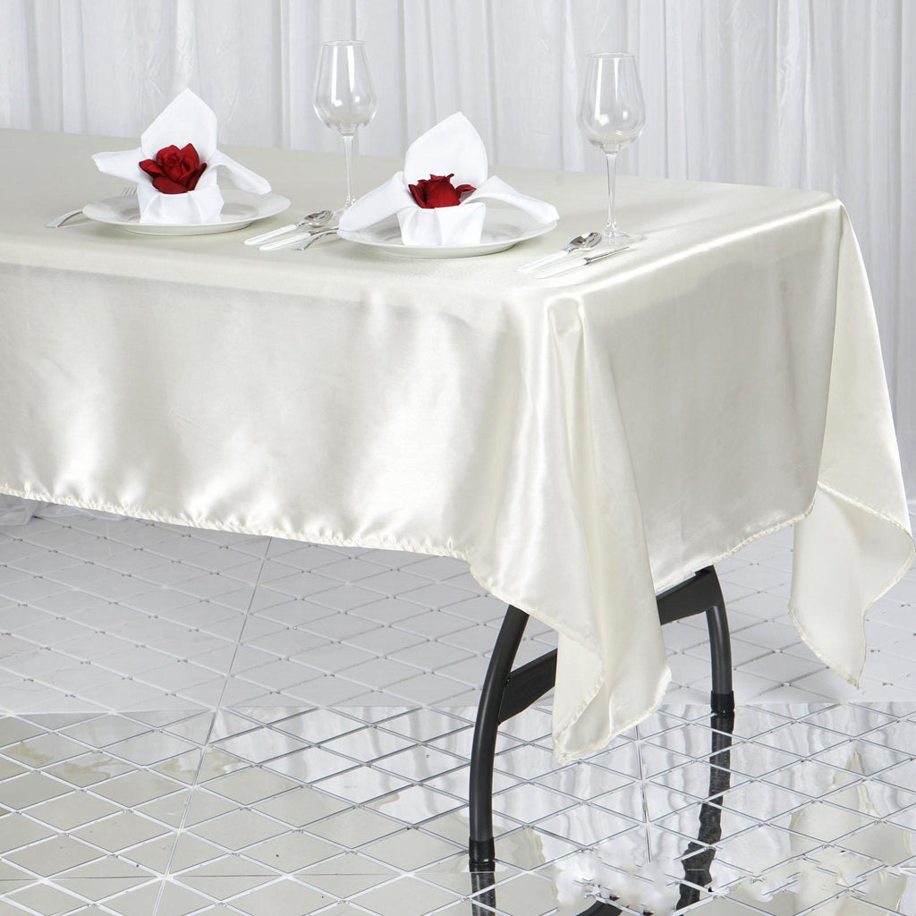 60x102 Quot Ivory Satin Rectangular Tablecloth Tablecloths
