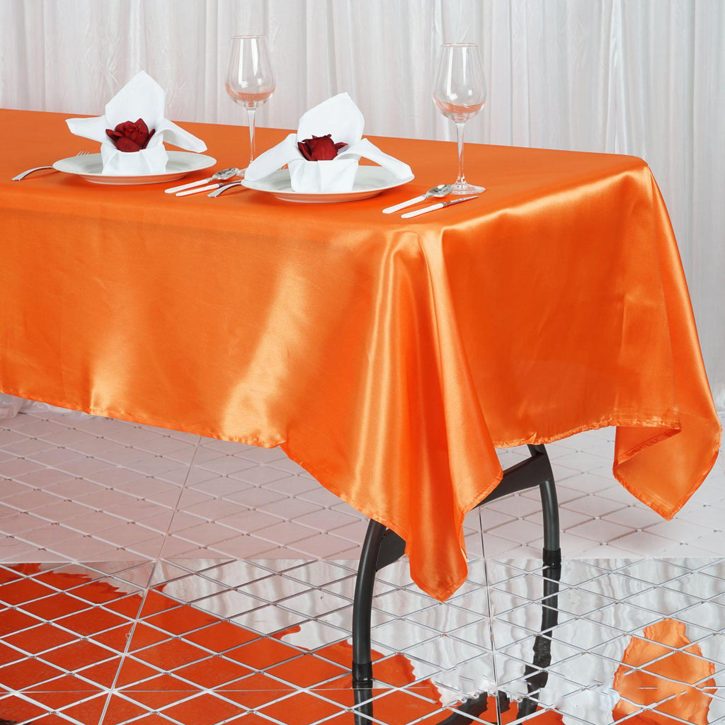 60x102 Quot Orange Satin Rectangular Tablecloth Tablecloths