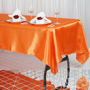 "60x102"" Orange Satin Rectangular Tablecloth"