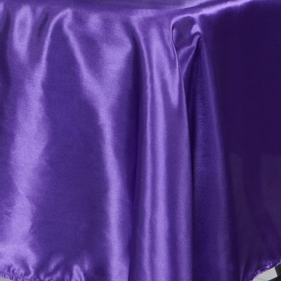 "60x102"" Purple Satin Rectangular Tablecloth"