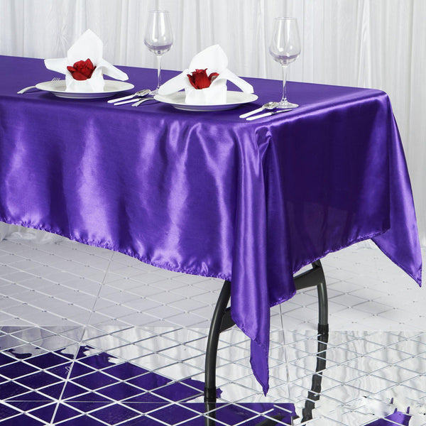 "60""x102"" Purple Satin Rectangular Tablecloth"