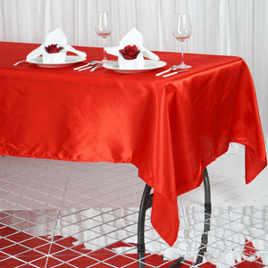 "60x102"" Red Satin Rectangular Tablecloth"