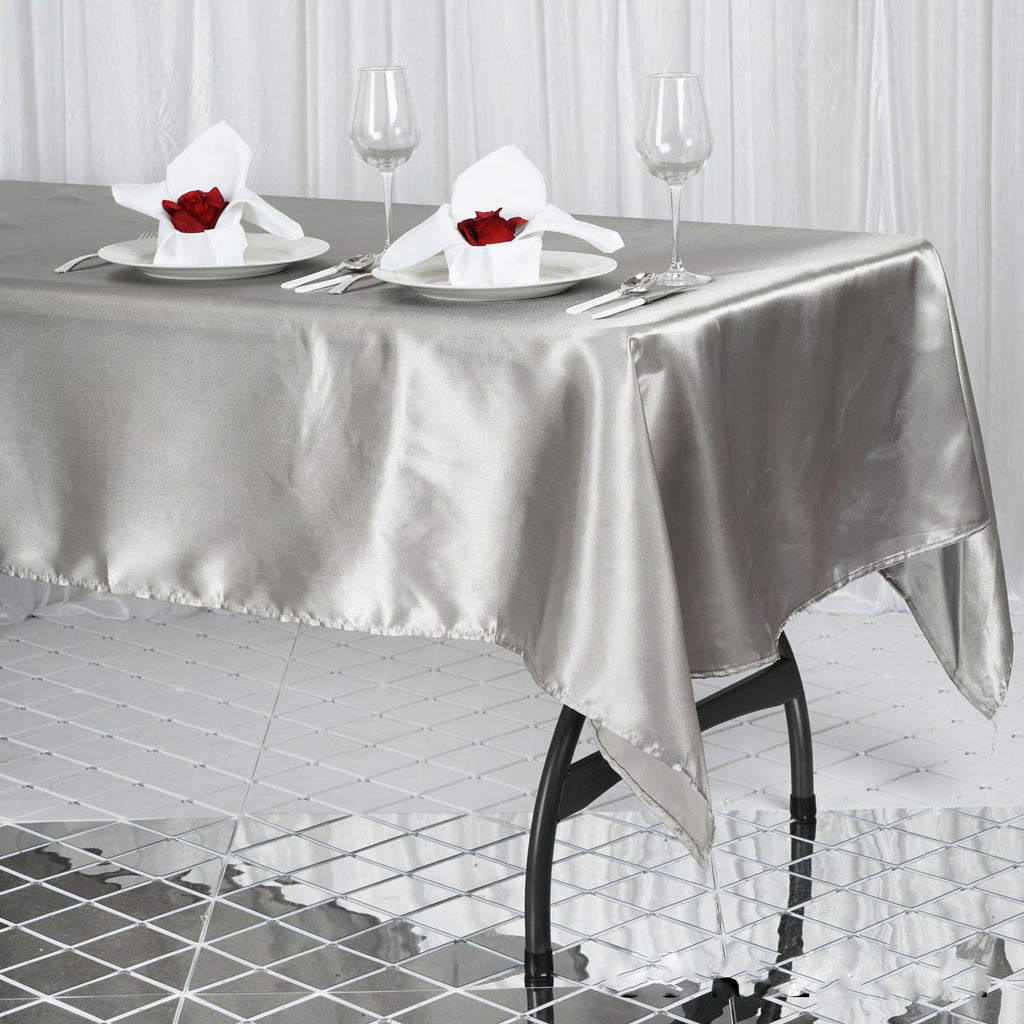 "Wedding Linen: 60x102"" SILVER Wholesale SATIN Banquet Linen Wedding Party"