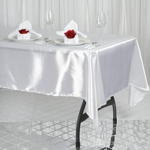 "60x102"" White Satin Rectangular Tablecloth"