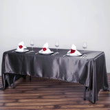 "60x126"" Charcoal Grey Satin Rectangular Tablecloth"