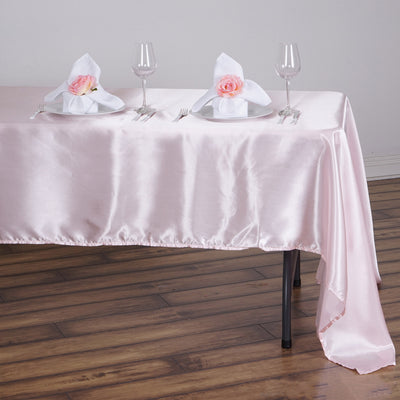 "60x126"" Satin Rectangular Tablecloth Rose Gold
