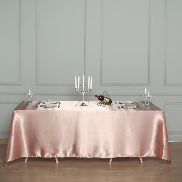 "60""x126"" Dusty Rose Satin Rectangular Tablecloth"
