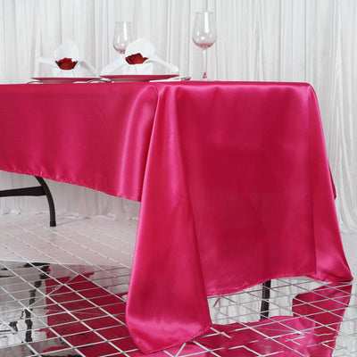 "60x126"" Fushia Satin Rectangular Tablecloth"