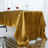 "60x126"" Gold Satin Rectangular Tablecloth"