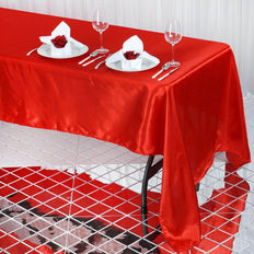 60x126 Red Satin Rectangular Tablecloth
