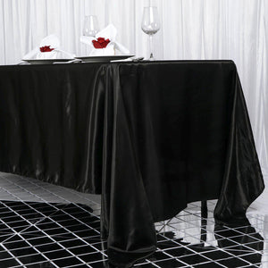 "72x120"" Black Satin Rectangular Tablecloth"