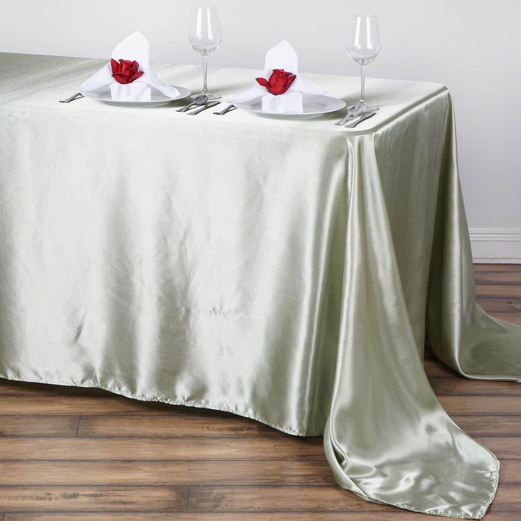 90x132 Quot Reseda Satin Rectangular Tablecloth Tablecloths