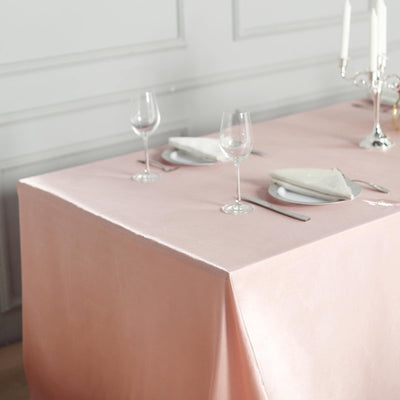 "90x132"" Dusty Rose Satin Rectangular Tablecloth"