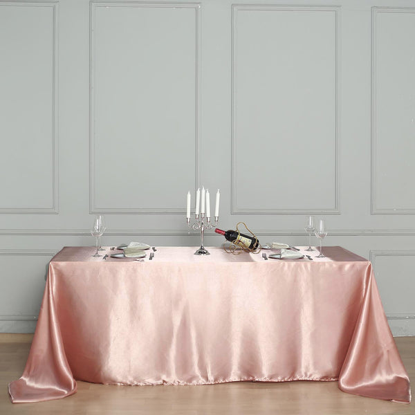 "60""x102"" Dusty Rose Satin Rectangular Tablecloth"