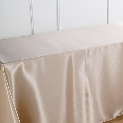 "90""x156"" Beige Satin Rectangular Tablecloth"