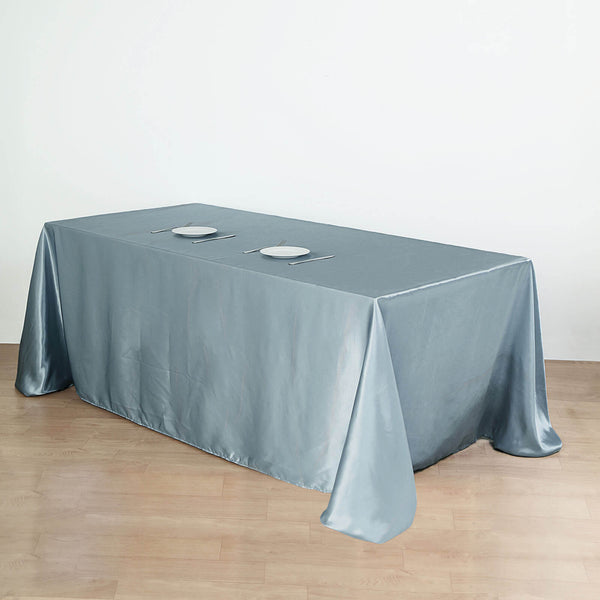 "90""x132"" Dusty Blue Satin Rectangular Tablecloth"
